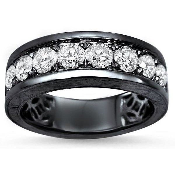 Mens 1.35ct Round Diamond Hand Engraved Wedding Band Ring 14k Black... ($2,095) ❤ liked on Polyvore featuring men's fashion, men's jewelry, men's rings, mens yellow gold diamond rings, mens gold diamond rings, mens yellow gold wedding rings, engraved mens wedding rings and mens engraved rings