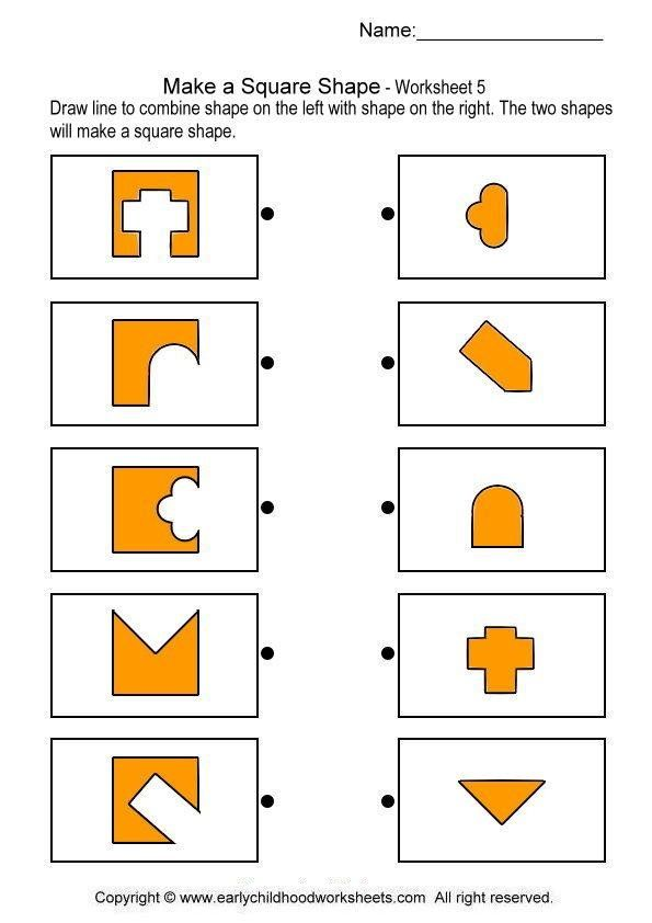 matching square shapes brain teaser worksheets for
