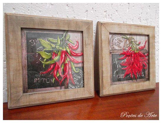 Lojinha Poções de Arte: Quadros - Pimentas.