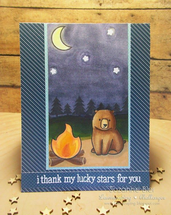 Lawn Fawn - Love You S'more, Lucky Stars, Pint-sized patterns, Beachside_ beautiful card by Suzanne for Lawnscaping Challenge: Cards with alternate dimension!