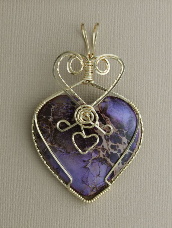 Gold Filled Wire Wrap pendant with Purple by BlueUnicornDesigns