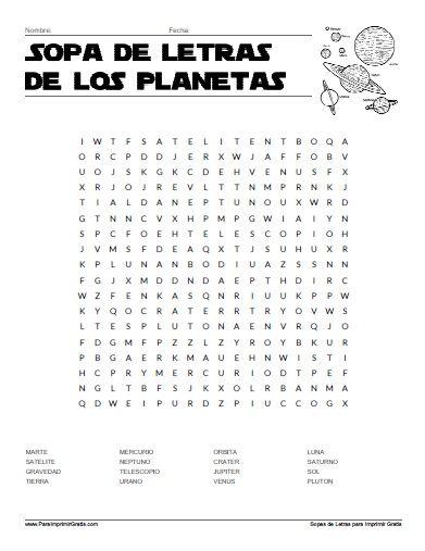 Sopa de Letras de Los Planetas
