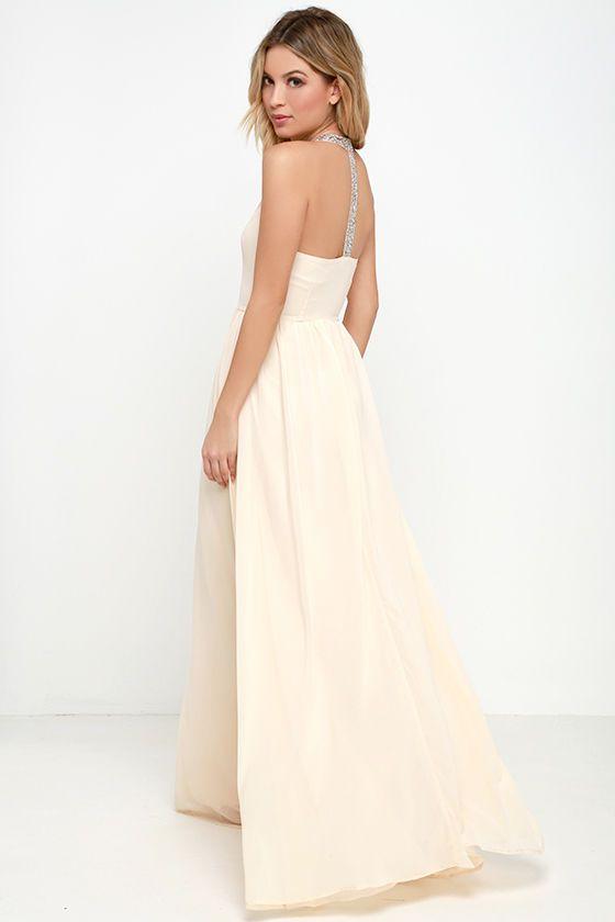 Cheerful Pale Peach Maxi Dress at Lulus.com!