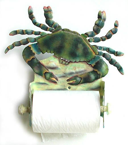 Blue Crab Toilet Paper Holder - Nautical Hand Painted Metal Bathroom Decor -K7066-TP
