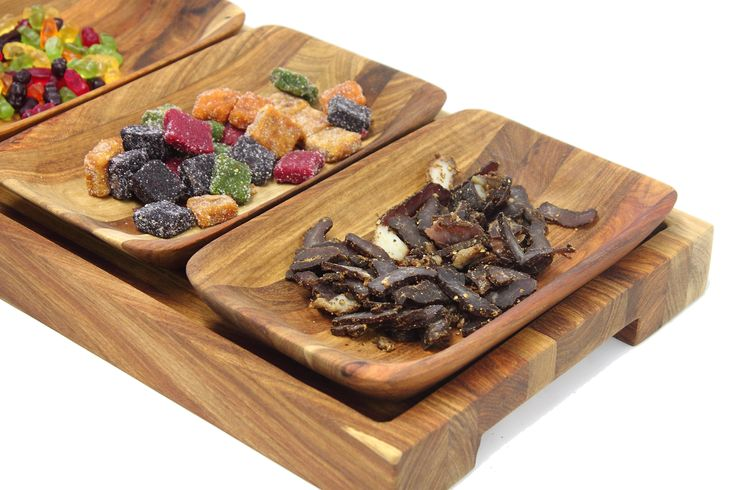 How about a delightful tray of wooden serving bowls for your next party.