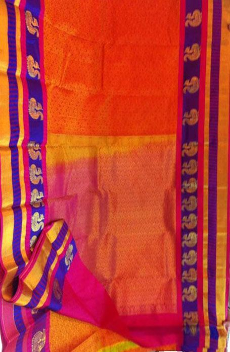 Orange Handloom Kanjeevaram Pure Silk  Saree