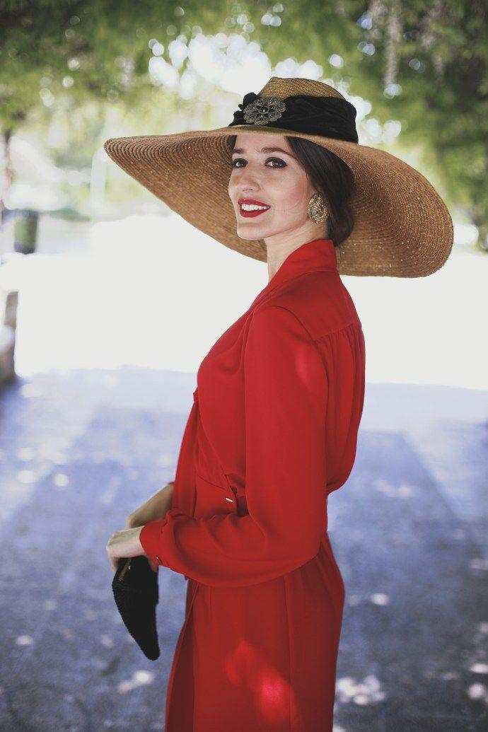 Vestido rojo y negro mujer