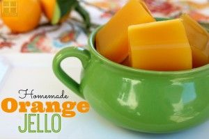 GUMMIES - Easy Peasy Homemade Orange Jello -  2 cups orange juice & 2 T. great lakes gelatin  - heat 1/2 cup orange juice in saucepan on low heat - stir in gelatin & mix well until dissolved  - pour in remaining juice & turn off heat - pour into a glass dish  - let cool in fridge for at least 3 hours