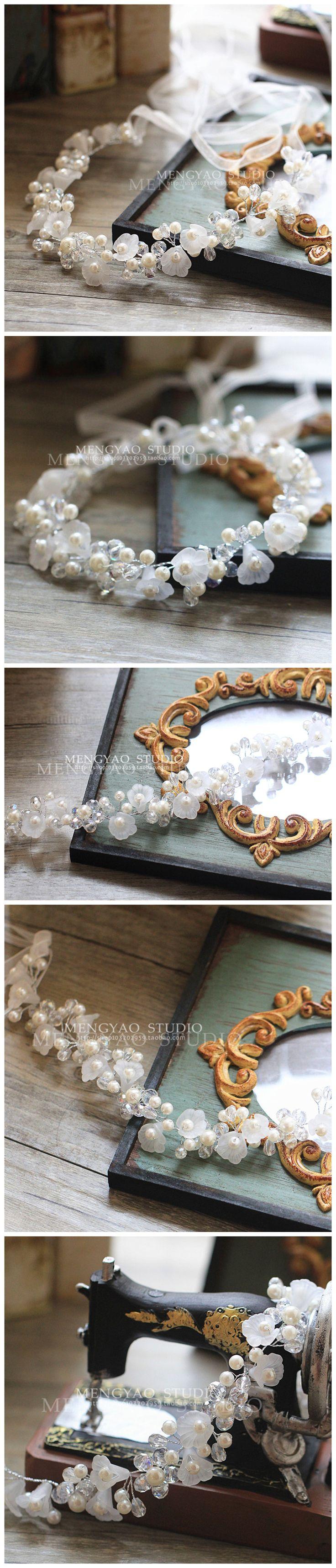 Невеста ручной работы кристалл жемчужина цветок волосы группа свадьба укладки волос аксессуары для волос корейский свадьбы невеста с драгоценностями - Taobao