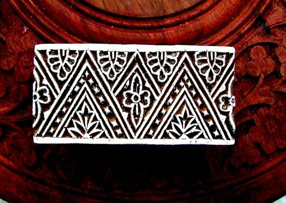 Border Stamp Hand Carved Indian Print Block (B2) $12
