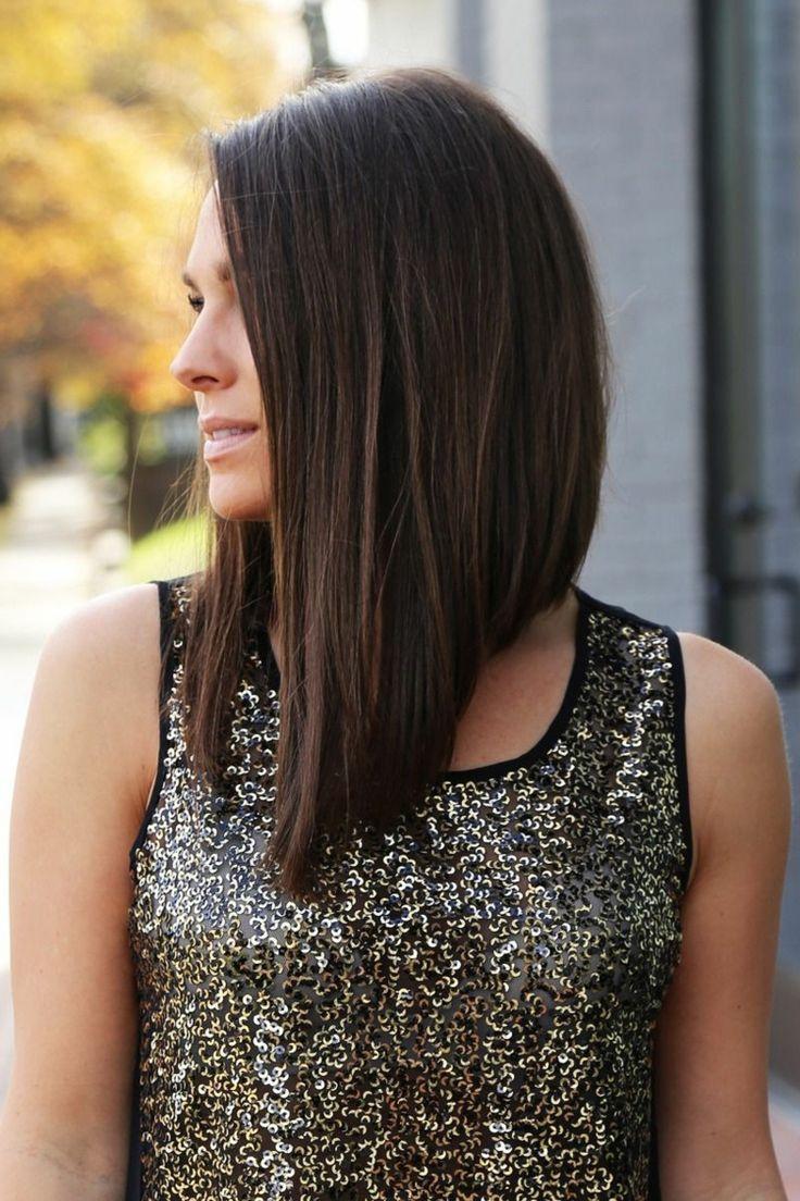 langer a-line bob glatte haare asymmetrisch brünett
