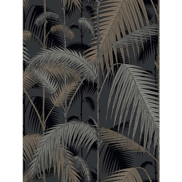 BuyCole & Son Palm Jungle Wallpaper, Silvers on Black, 95/1004 Online at johnlewis.com