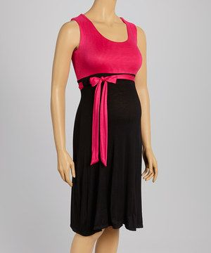 This Pink & Black Maternity Sleeveless Dress by GLAM is perfect! #zulilyfinds