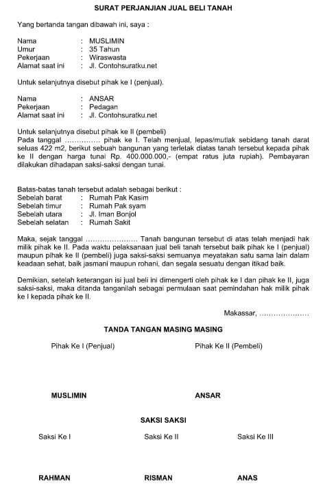 Contoh Surat Perjanjian Jual Beli Rumah Bahasa Indonesia ...