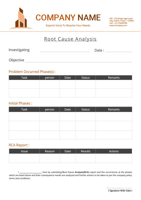 Simple Root Cause Analysis - Analysis Spreadsheet Template