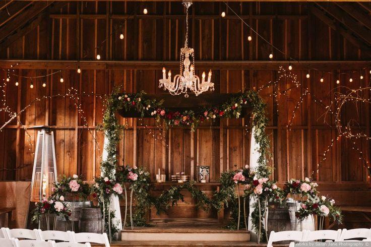 Indoor Ceremony Inspirations: Indoor + Barn Wedding Ceremony + Floral Arch