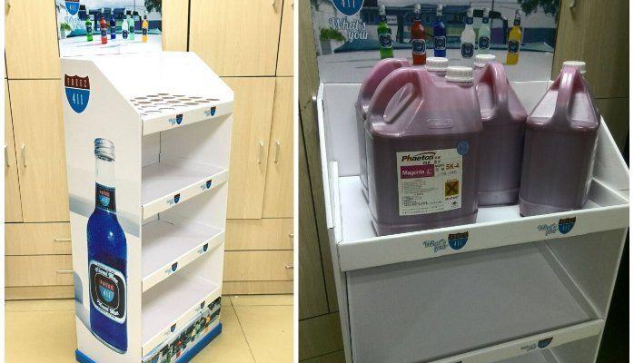 Display wine rack, cardboard display for beer soft drink and beverage