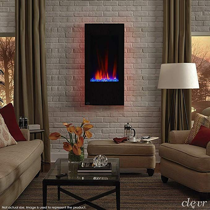 Clevr 32 Vertical Wall Mounted Modern Black Electric Heat