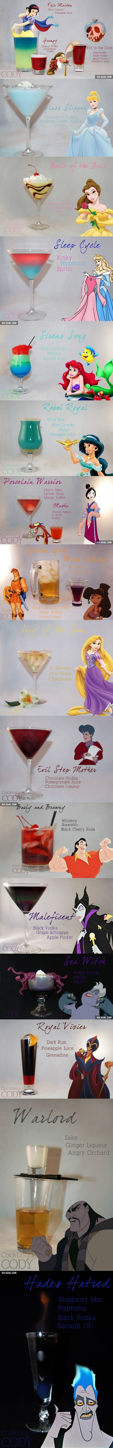 29 Disney Themed Cocktails You Will Want To Try - Interesting concept, could potentially do something with Nintendo characters on this same idea.: