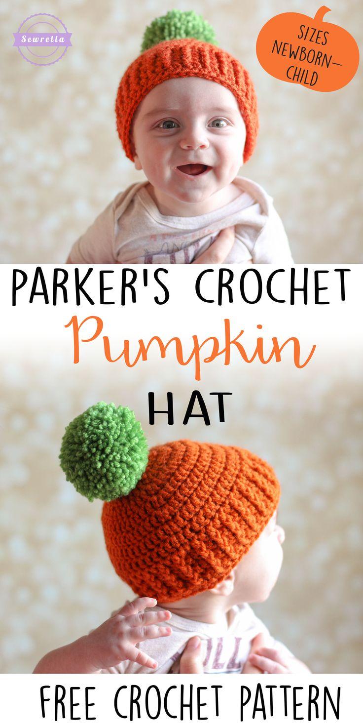 Parker's Crochet Pumpkin Hat   Sizes newborn-child   Free pattern from Sewrella