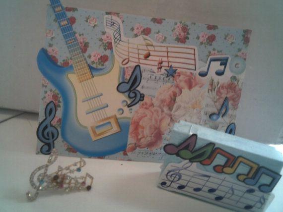 MUSICIAN GIFT SET  Beautiful Blue Guitar by CathysCraftWorld