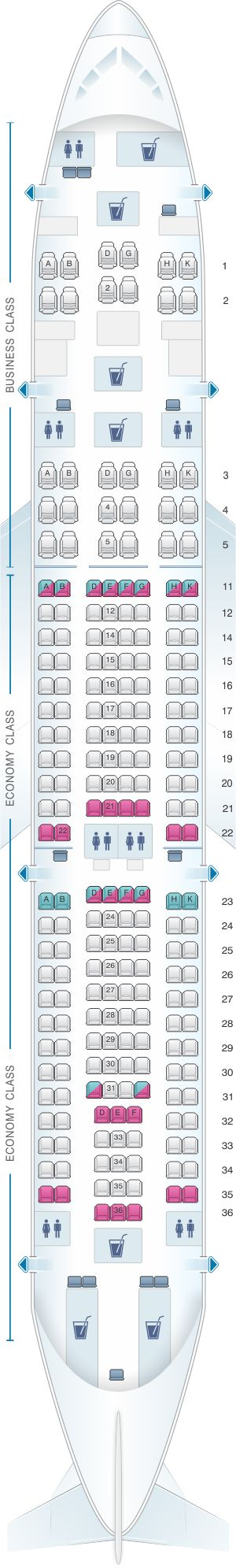 Seat Map Kingfisher Airlines Airbus A330 200