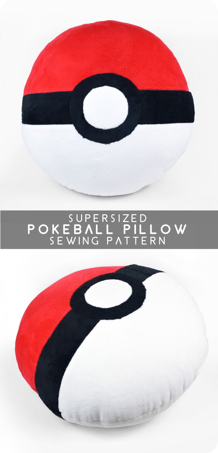 "Catch 'em all with a DIY supersized Poké Ball pillow. Courtesy of Choly Knight, this pillow is perfect in the home, on the road or as a gift. The free pattern is easy to follow and includes instructions for a 16"" and 24"" pillow."