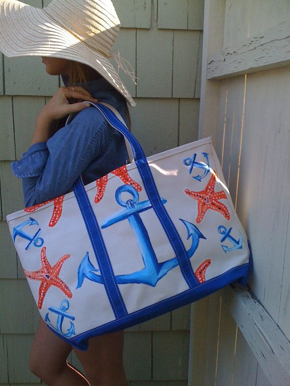 Anchor starfish tote bag  Blue, coral, read, tan, linen, beach, ocean, nautical, preppy     Etsy  $110.00