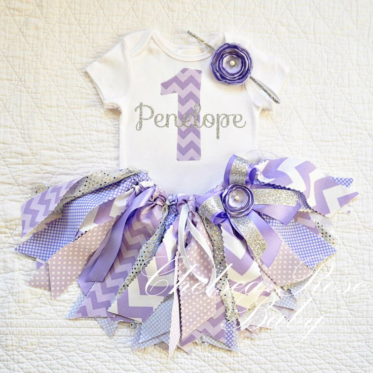Purple, Lavender and Silver Fabric tutu outfit~ First Birthday tutu set~ Shabby Chic Birthday Outfit~ Silver Birthday~ Birthday~ baby girl by ChelseaRoseBaby on Etsy https://www.etsy.com/listing/224809659/purple-lavender-and-silver-fabric-tutu