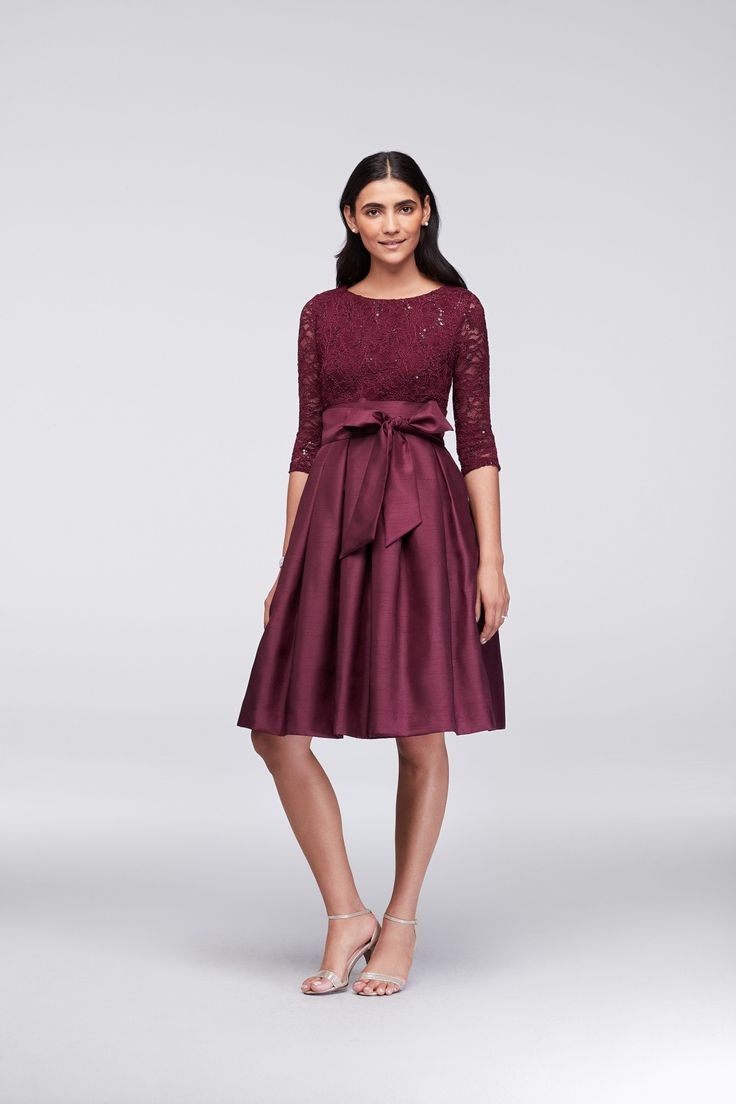 Wine Lace and Shantung Short Ball Gown Mother of the Bride Dress by Jessica Howard available at David's Bridal