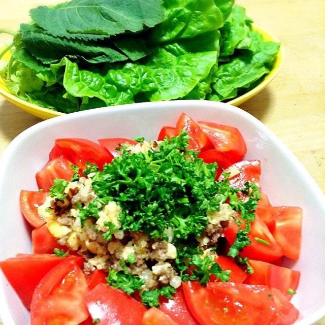 そぼろは作っておくと便利なので、たくさん作りました 今回はトマトと一緒にサラダにして、サンチュとエゴマの葉にのせていただきました。 - 78件のもぐもぐ - そぼろサラダ by peacefulriver