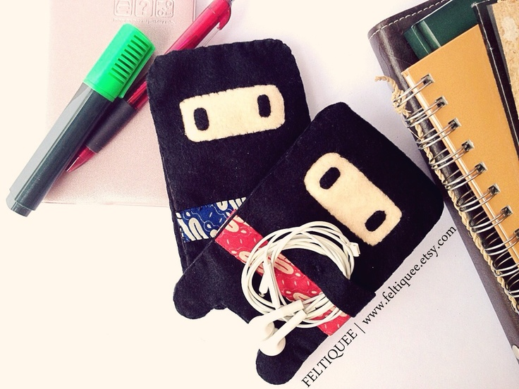 Cute Ninja to protect your smart phone night and day   www.feltiquee.etsy.com