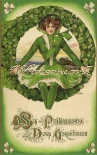 Vintage St Patricks Day Holiday Greeting Post Card Digital Dowload Printable…