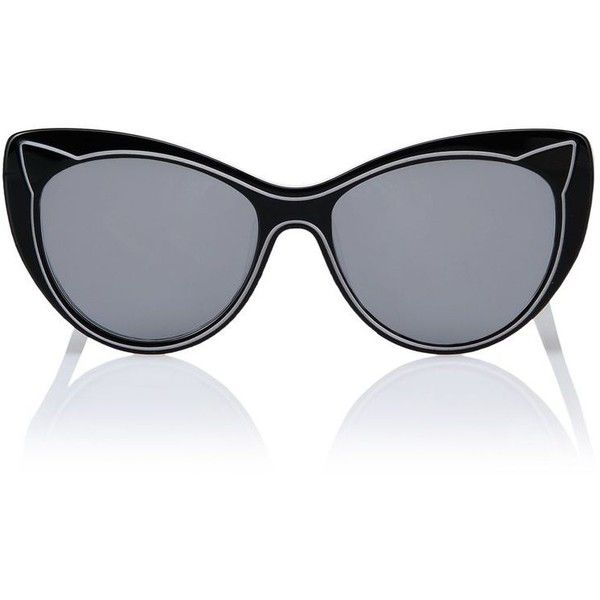Karl Lagerfeld Piping Black Snow ($145) ❤ liked on Polyvore featuring accessories, eyewear, sunglasses, black, karl lagerfeld sunglasses, black glasses, logo sunglasses, cateye sunglasses and black lens sunglasses