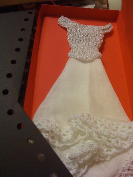 Picture of Bride's Hanky (Crochet) Alert: no directions for bodice-- I think she gives an email address to give them? Not real clear on crochet all around the handkerchief--- might be there but sometimes I can pickup from picture--- will try one day! But the idea is pretty for a wedding / gift.