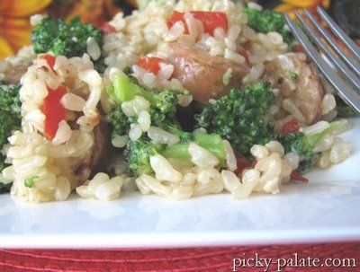 Chicken Sausage, Broccoli and Parmesan Brown Rice Dinner | Picky ...