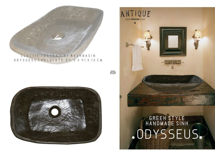 Handmade Sinks Bathroom Traditional Odysseas 64.5 x 41 x 11.5 cm  Construction of the Studio Travertino