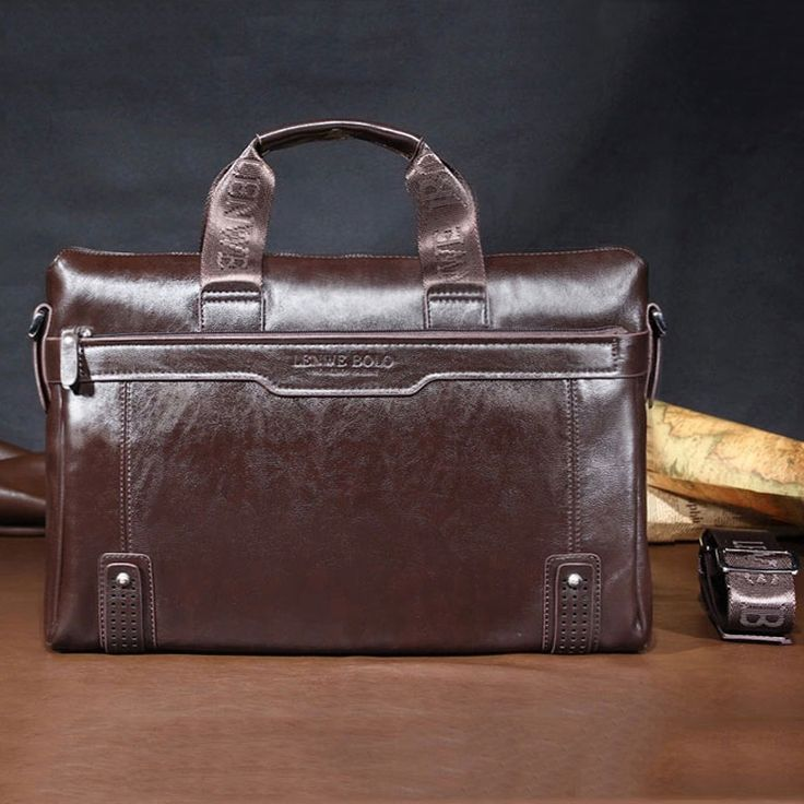 "Hot sale fashion PU soft leather briefcase 14"" laptop leather bags for men big size shoulder bags business briefcase M0038"