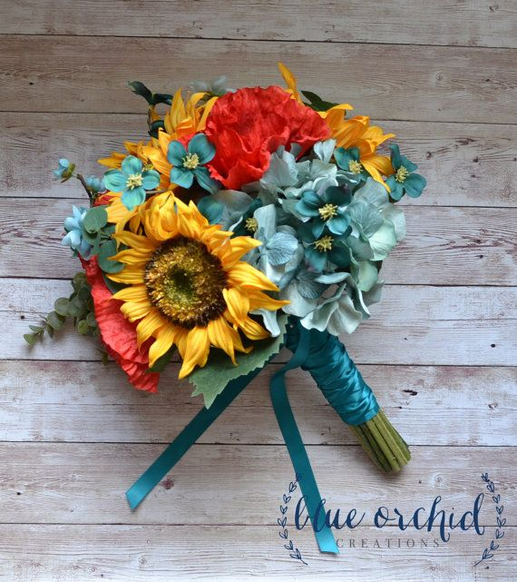 Sunflowers, bright red poppies, turquoise and teal hydrangea and wildflowers, mixed with eucalyptus and greenery. This silk wedding bouquet