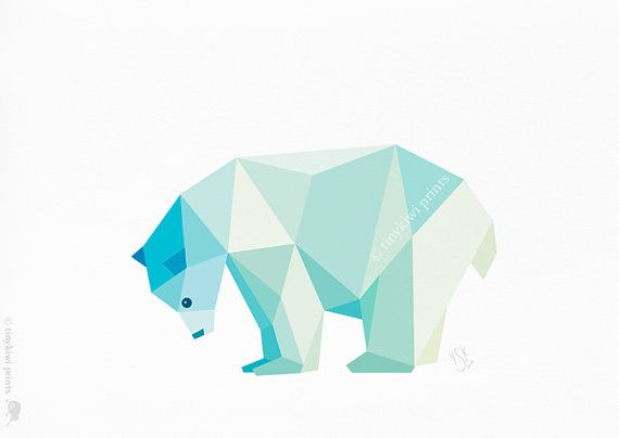 Polar Bear, Geometric print, Original illustration, Animal print, Minimal art, Nursery wall art--LOVE these geometrical prints