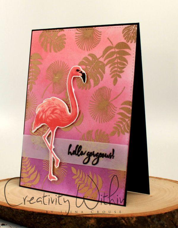 Color Layering Flamingo, Tropical Leaves: HA, embossing, critter sketch