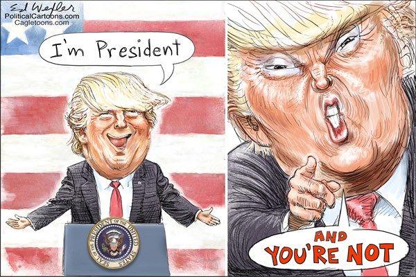 Ed Wexler - PoliticalCartoons.com - I'm Pres You're not - English - trump, attacks, fake, media veterans, I'm, president, you're, not