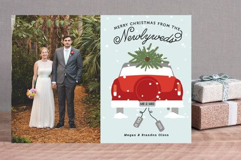 Newlywed Christmas Holiday Photo Cards by Bonjour Berry at minted.com