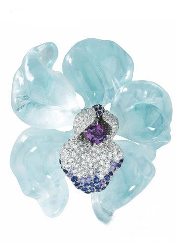 Cartier Orchid Aquamarine Brooch @@@                                                                                                                                                      More