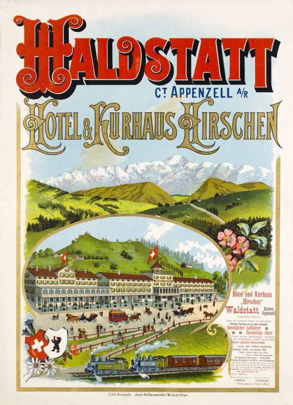 """Haldstatt, Appenzel, Hotel & Kurhaus Kirschen Fine Art Nouveau poster for the """"Hirschen Hotel & Spa in Haldstatt, in the canton of Appenzell"""" in the East Switzerland. Beautifully printed in stone-lithography enhanced with gold color and in perfect condition."""
