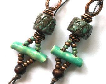 Keramische sieraden, rustieke Boho sieraden, handgemaakte ambachtelijke sieraden, bijzondere oorbellen, Bohemian oorbellen, Hippie sieraden, SheFliesAgain