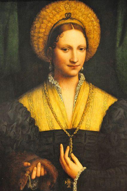 Bernardino Luini (Bernardino Scapi o de Scapis) M. 1532 'Portrait of a Lady' 1525. Pintor conservador influenciado por da Vinci, Conocido por sus figuras femeninas llenas de gracia, con ojos ligeramente estrábicos, pintó frescos, temas religiosos, etc