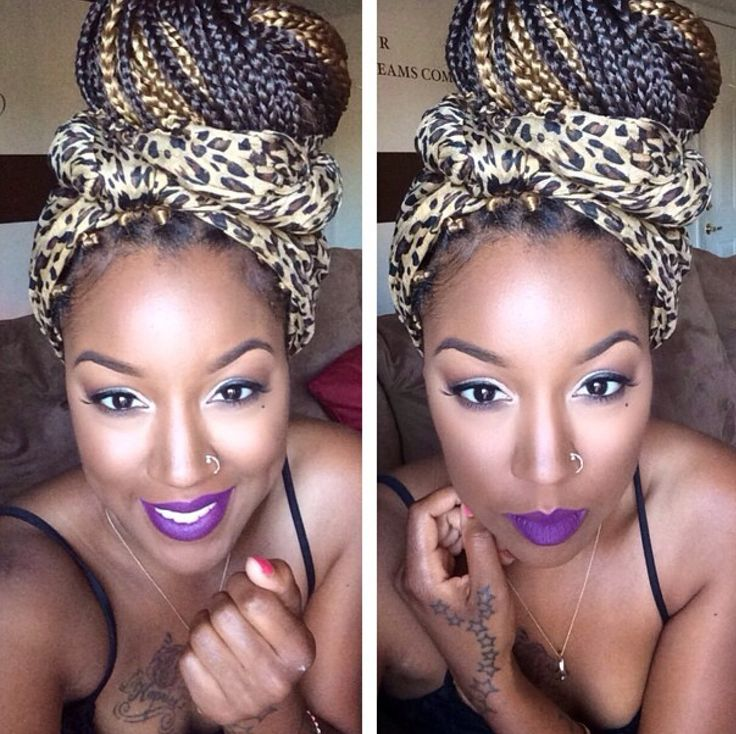 Big Top Bun with Animal Print Headwap! Love purple lips too!