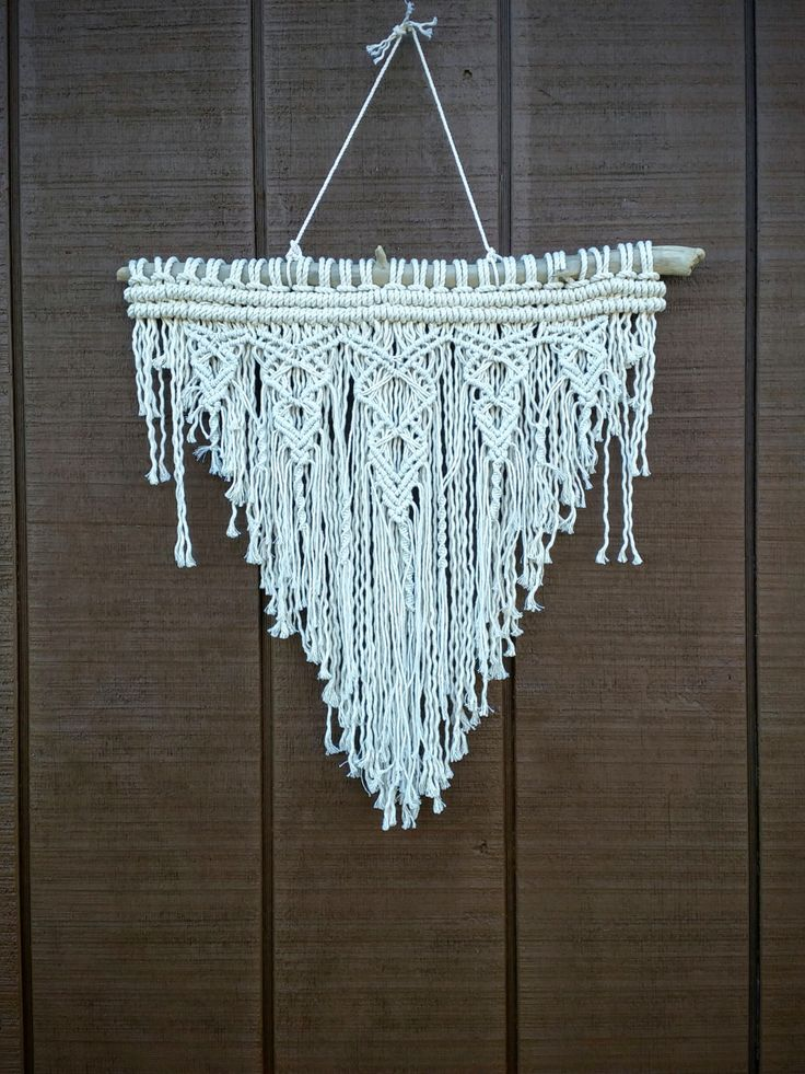 sale textured macrame wall hanging knotted fringe on wall hanger id=18451