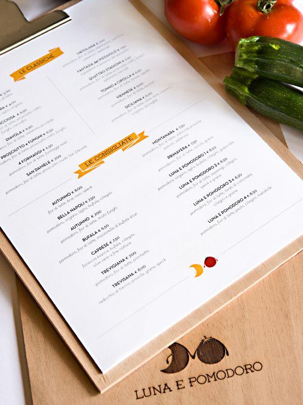 Progettazione del naming, logo, immagine coordinata e il menù per la pizzeria Luna e Pomodoro.